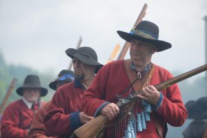 English Civil War re-enactment by the Sealed Knot at Newstead Abbey, Nottinghamshire
